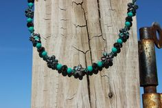 Country Flower TurquoiseBrown Necklace by LidsnGlitz on Etsy
