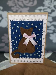 Cat and snow greeting card, Textile greeting card, Patchwork greeting card, Christmas patchwork card, by RazVihreno on Etsy
