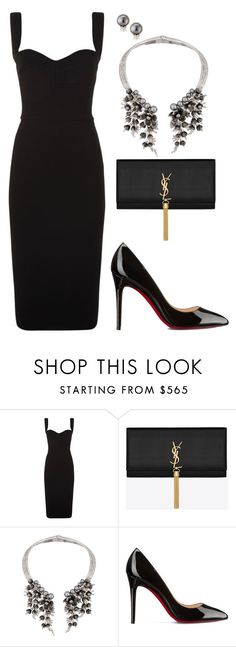 """""""little black dress"""" by katka-klimova on Polyvore featuring Victoria Beckham, Yves Saint Laurent, Schield Collection, Christian Louboutin and Belpearl"""