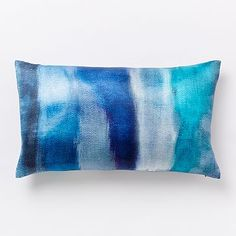 Cloudy Abstract Silk Pillow Cover - Blue Teal #westelm