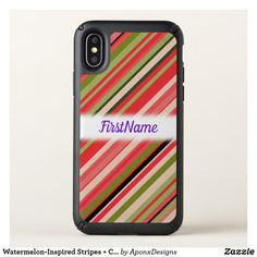 Watermelon-Inspired Stripes Custom Name - pink gifts style ideas cyo unique Cool Phone Cases, Iphone Case Covers, Pink Gifts, First Names, Iphone 11, Watermelon, Stripes, Pink Style, Inspired