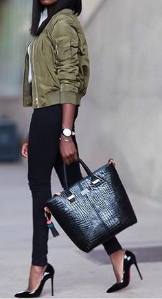 #winter #fashion /  Army Jacket / Black Skinny Jeans / Black Tote Bag / Black Heels