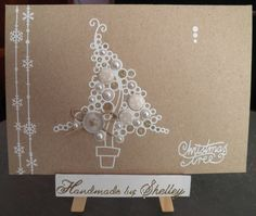 Christmas Bubble Tree peel-off by Woodware. Snowflake strings by Craft Creations. Embellishments by Craftwork Cards and Meiflower.