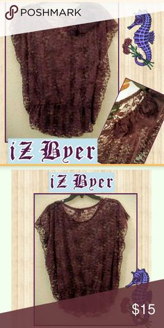 iZ Byer Purple Floral Lace Blouse This pretty lace top is a iZ Buyer blouse, stretchy at the bottom. Fun and flirty. Just ad a black Cami underneath! Awesome detail, worn once! Iz Byer Tops Blouses