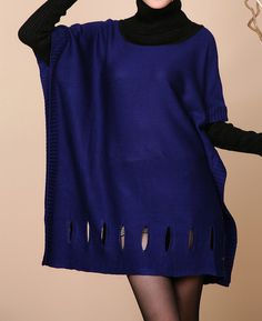 Robe Oversize lâches rouge/bleu / revers coton robe pull par MaLieb