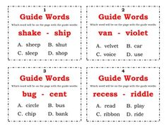 2 sets of 24 Guide Word Task Cards.