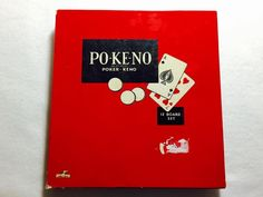 Pokeno PO-KE-NO Game 12 Board Set Chips Poker Keno Vintage US Playing Card Co. #UnitedStatesPlayingCardCompany