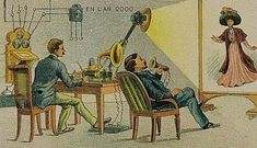 а prediction from 1910 of what 'the future' (2000) would look like. This was the artist's idea of a Video-telegraph.