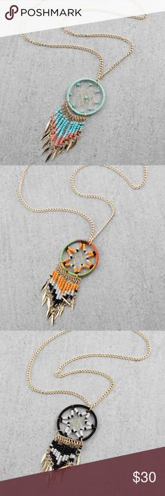 """Dream catcher long seed bead necklace Price Is for 1 necklace.          34""""L Gold metal Beaded detail Lobster clasp closure. 💓This necklace will be marked down to $20 this weekend so lemme know if u want it💓 Jewelry Necklaces"""