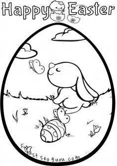 printable easter bunny egg decorating coloring pages printable coloring pages for kids - Color Printouts