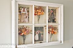 Freeze drying ~&~ Shadow-boxing wedding bouquet in an antiqued window...along with a few of the snapshots from the special day ♥