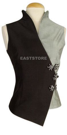 Two-tone Silk Sleeveless Blouse