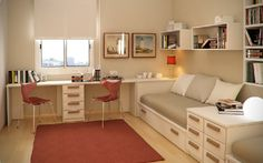 Bedroom design idea with integrated teen workspace