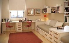 Bedroom design idea with integrated teen workspace
