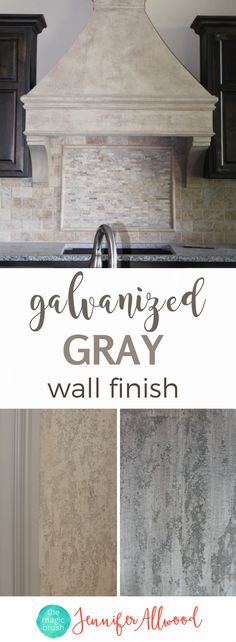 This is my most popular wall texture and can be done in any color: traditional browns or trendy grays. It's great on walls, columns and stove hoods. It hides walls blemishes and kids' traffic perfectly!!!!! Painting Tips & Tutorials by Jennifer Allwood of themagicbrushinc.com | Accent Wall + Feature Wall +  Focal Wall + Stone Faux Finish