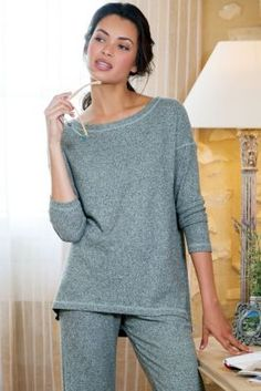 Given our ultimate softness rating of our Softy ensemble is crafted of brushed ribbed knit with a little stretch to feel incredible, drape beautifully and wear like a dream Soft Surroundings Clothing, Long Tee, Petite Tops, Pull On Pants, Lounge Wear, Tunic Tops, Pullover, Legs, Clothes For Women