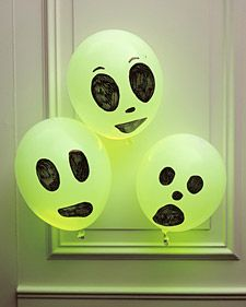 glow in the dark ghosts (glow sticks!)