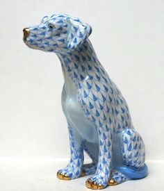 """Herend Blue Fishnet Seated Dog Nice as It Gets """"First Edition """" 