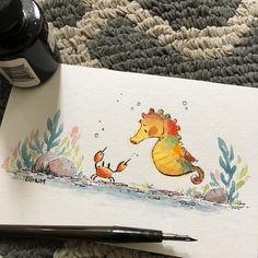 #inktober Day 4: Underwater. #inktober2017 #illustration #underwater #seahorse #crab #ocean #cute #bensonshum #watercolor #ink #inking #inkart #drawing #draw #sketch #kidlitart #illustrator #sea #play #art #artist #sealife #artistsoninstagram #illustration #ink #drawing #inkdrawing #sketchbook