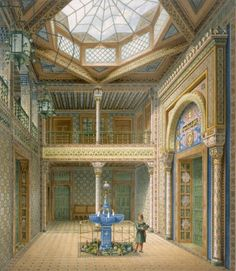 Copula style ceiling, design for the entrance hall to Wilhelma, 1837 (colour litho)Credit: Copula style ceiling, design for the entrance hall to Wilhelma, 1837 (colour litho), Zanth, Karl Ludwig Wilhelm (1796-1857) / Private Collection / The Stapleton Collection / The Bridgeman Art Library
