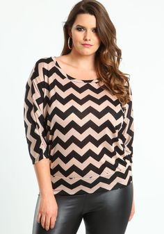 Plus Size Taupe Chevron Tee - Love Culture