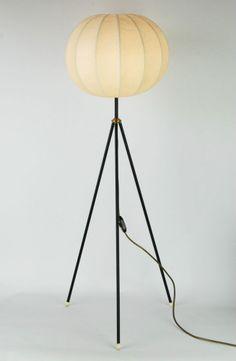 Vintage 1960s FLOOR LAMP COCOON Tripod Mid Century Danish Modern Eames 60s Era