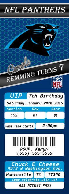 NFL Carolina Panthers Ticket 2 Birthday Invitation