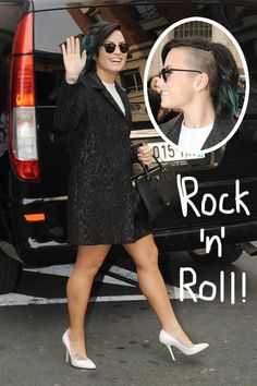 Demi Lovato flaunts her shaved head in Paris.