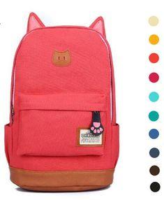 cat ears backpack, school back to school pack, pink cat back pack - Crystalline