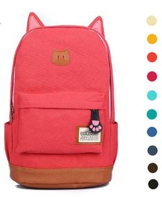 cat ears backpack, school back to school pack, pink cat back pack - Crystalline