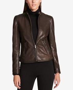 Dkny Plus Size Leather Jacket, Created for Macy's - Brown Plus Size Leather Jacket, Coats For Women, Jackets For Women, Leather Jackets Online, Moto Jacket, Clothes, Outerwear Jackets, Dark Autumn, Motorcycle Jackets
