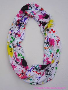 Infinity scarf - paint splatter scarf - graffiti print - hipster - fashion scarf. $23.50, via Etsy.