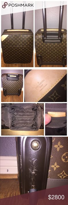 """Louis Vuitton Monogram Canvas Pegase 45 Suitcase Louis Vuitton Monogram Canvas Pegase 45 Rolling Suitcase. 100% Authentic. Authenticity code is pictured (SP4113). In excellent condition, with faint signs of use & some minor scuffing marks along the bottom of the suitcase by the wheels, as seen in pictures I have listed. I used this as my carry on back in my corporate days. Now, I'm a stay at home Mom! Comes with lock & key, protective cover case, and baggage care manual. Measurements: 14""""L x…"""