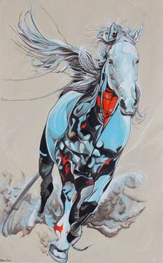 Ethereal; A fine art painting of a beautiful Arabian horse. The colours are soft soothing aqua blues with deep sunset orange tones detailing the strong chest. There is an almost unearthly quality about the horse in the way that the tail acts like a wing as though it were aiding flight. #Saatchi Art #Artist #Yaheya Pasha #Painting #art #equestrian #horse #equine