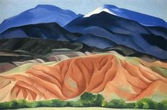 ladyburde: Georgia O'Keeffe, Black Mesa Landscape, New Mexico / Out Back of Marie's II, Oil on canvas mounted to board. 24 ¼ x 36 ¼. Georgia O'Keeffe Museum. Gift of The Burnett Foundation © Georgia O'Keeffe Museum Alfred Stieglitz, Georgia O'keeffe, New Mexico, Famous Landscape Paintings, Nature Paintings, Amazing Paintings, Landscape Artwork, Flower Paintings, Georgia O Keeffe Paintings
