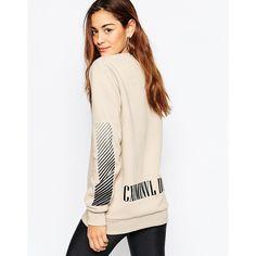 Criminal Damage Oversized Crew Neck Sweatshirt With Back Logo Print ($86) ❤ liked on Polyvore featuring tops, hoodies, sweatshirts, nude, crew neck tops, oversized white top, criminal damage, white crewneck sweatshirt and white sweatshirt