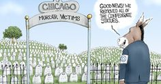 Democrats seem to care more about taking down confederate statues than slowing down the murder rate in Chicago. Political Cartoon by A.F. Branco ©2017