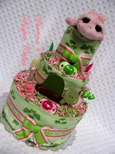 Pink Turtle Baby Diaper Cake Shower Gift or Centerpiece