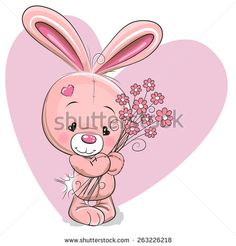 Cute Cartoon Rabbit with flowers on a heart background - stock vector