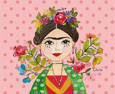 Ilustra linda da Frida Kahlo - para compor uma coleção de produtos Chria! Compre on-line na Chria www.chria.com.br Ilustração em aquarela by Chris M. Lindner (47) 99929 8863