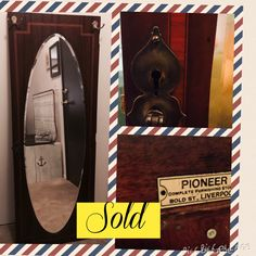 This is the other piece of the antique wardrobe, the one door that could be saved. Cleaned her up and added a hook for keys, jewelry, purse. A repurpose that is functional.