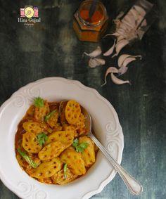 Kamal Kakdi Ki Sabzi is a succulent brown curry made with crisp and fibrous lotus stem. Served with Phulka and Rice. funfoodfrolic.com