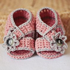Baby girl's crocheted shoes.