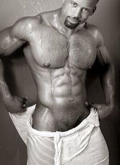 Wet nude black man