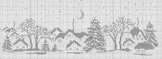 Free winter scene cross stitch pattern 1 of 3 Cross Stitch House, Xmas Cross Stitch, Cross Stitch Charts, Cross Stitching, Cross Stitch Embroidery, Embroidery Patterns, Cross Stitch Patterns, Crochet Cross, Filet Crochet