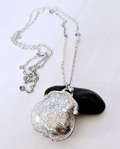 Aromatherapy Silver Purse Perfume Locket Holds Organic Per Amore' Solid Perfume, by essensu. This is a fun way to carry your fragrance with you, and have a unique fashion accessory. #jewelry #handmade #necklace #etsyshop