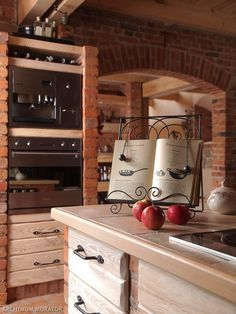 Very rustic kitchen. Love the brick