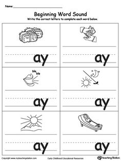 Beginning Word Sound: AY Words: Help your child learn to recognize the sounds and letters at the beginning of words with this picture and word match worksheet.