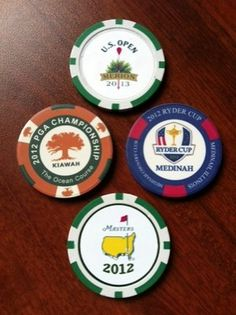 We offer custom golf poker chips. Create one with your logo for your 2013 golf tournament! Lpga Players, Michael Morse, Golf Pro Shop, Poker Chips Set, Masters Golf, Ryder Cup, Best Golf Courses, Putt Putt, Golf Gifts