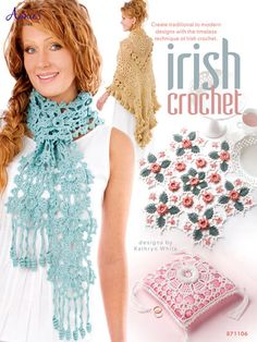 Create beautiful designs with the timeless technique of Irish Crochet. These 8 projects are made using size 10 and 20 thread, size 5 pearl cotton and light worsted-weight yarn. Designs feature the classic Irish rose, leaf and 3-dimensional look of Irish Crochet. Patterns in the book include a shawl, 3 doilies, hair combs, a scarf, necklace, and a ring pillow. Skill Level: Intermediate